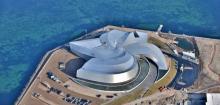 Vue aérienne du bâtiment en forme de spirale