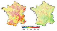 Carte de France des changements climatiques