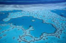 Vue aérienne de la Grande barrière de corail, au large des côtes de Queensland, en Australie